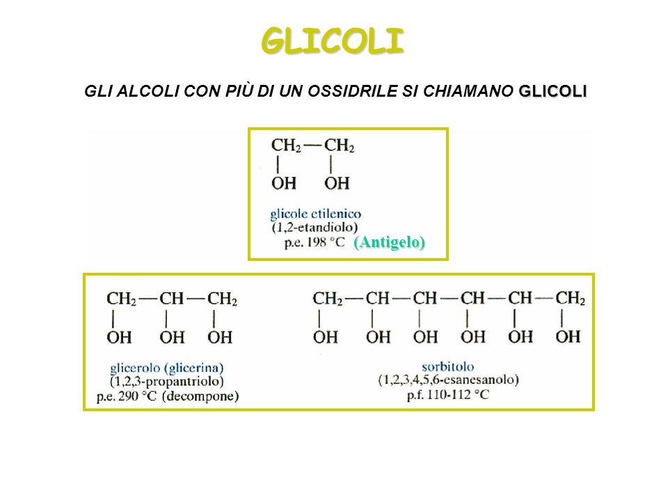 GLICOLI GLICOLI GLI ALCOLI CON PIÙ DI UN OSSIDRILE SI CHIAMANO GLICOLI (Antigelo)