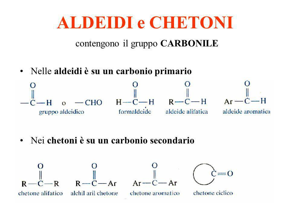 ALDEIDI e CHETONI contengono il gruppo CARBONILE Nelle aldeidi è su un carbonio primario Nei chetoni è su un carbonio secondario