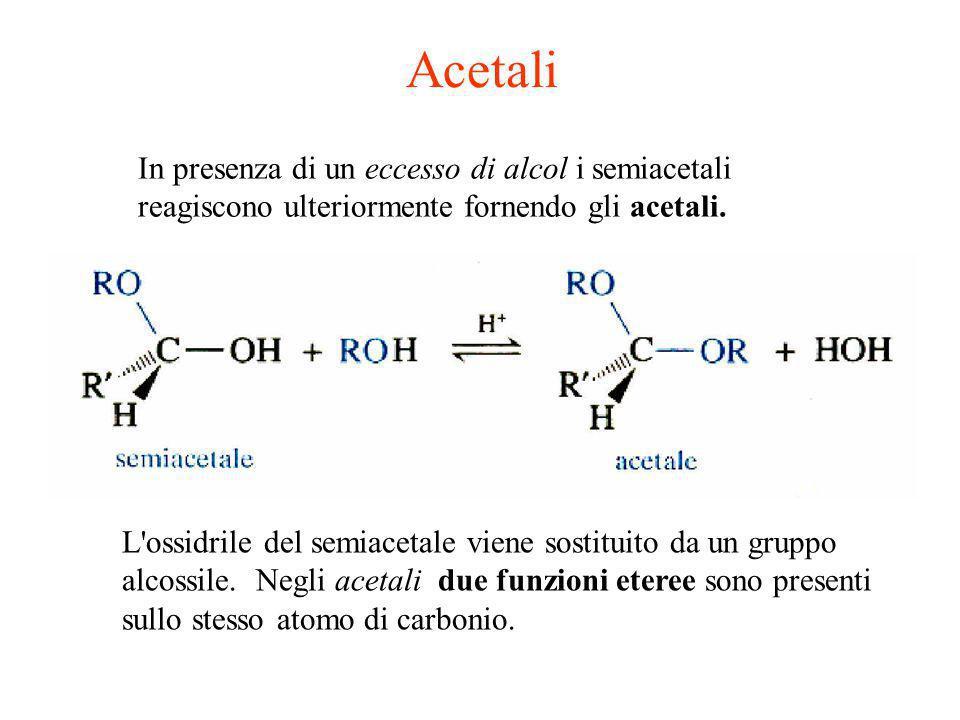 Acetali L'ossidrile del semiacetale viene sostituito da un gruppo alcossile. Negli acetali due funzioni eteree sono presenti sullo stesso atomo di car