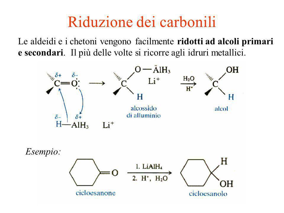 Le aldeidi e i chetoni vengono facilmente ridotti ad alcoli primari e secondari. Il più delle volte si ricorre agli idruri metallici. Riduzione dei ca