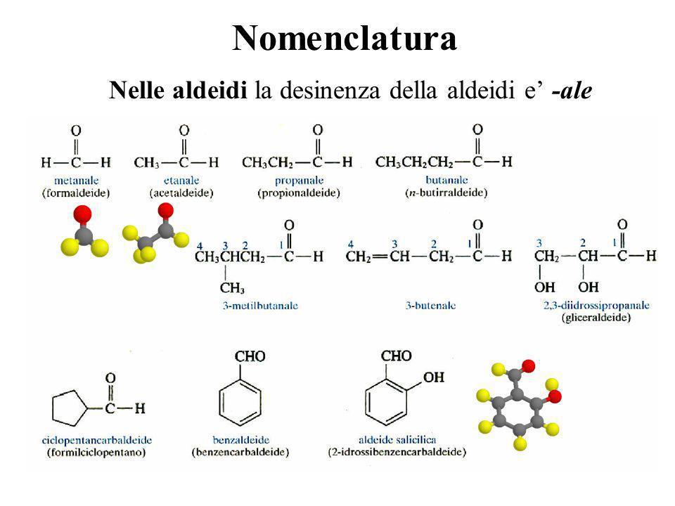 Nomenclatura Nelle aldeidi la desinenza della aldeidi e -ale
