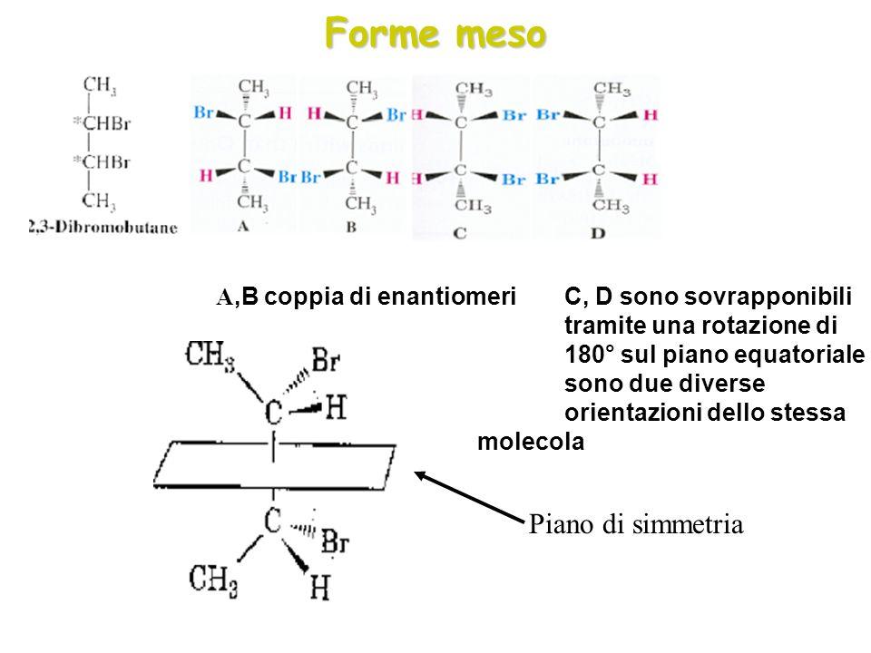 Forme meso A,B coppia di enantiomeri C, D sono sovrapponibili tramite una rotazione di 180° sul piano equatoriale sono due diverse orientazioni dello