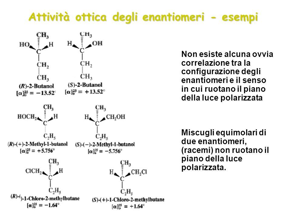 Attività ottica degli enantiomeri - esempi Non esiste alcuna ovvia correlazione tra la configurazione degli enantiomeri e il senso in cui ruotano il p