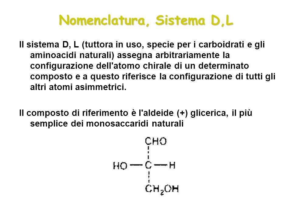 Nomenclatura, Sistema D,L Il sistema D, L (tuttora in uso, specie per i carboidrati e gli aminoacidi naturali) assegna arbitrariamente la configurazio