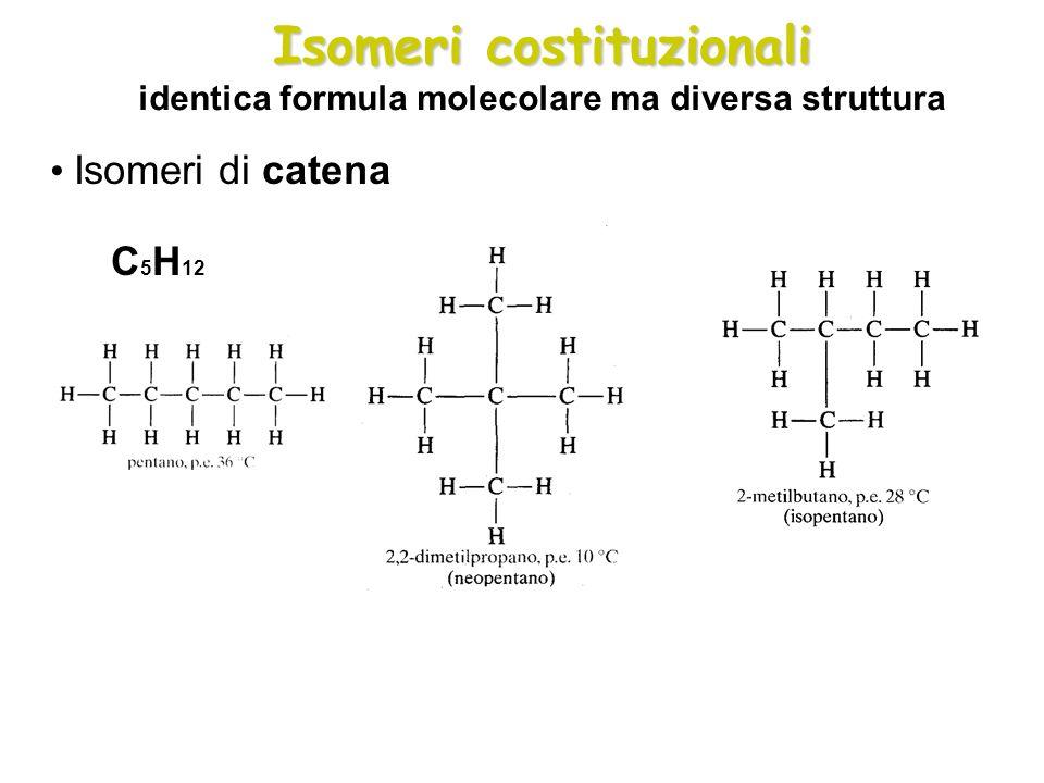 Isomeri costituzionali Isomeri costituzionali identica formula molecolare ma diversa struttura Isomeri di catena C 5 H 12