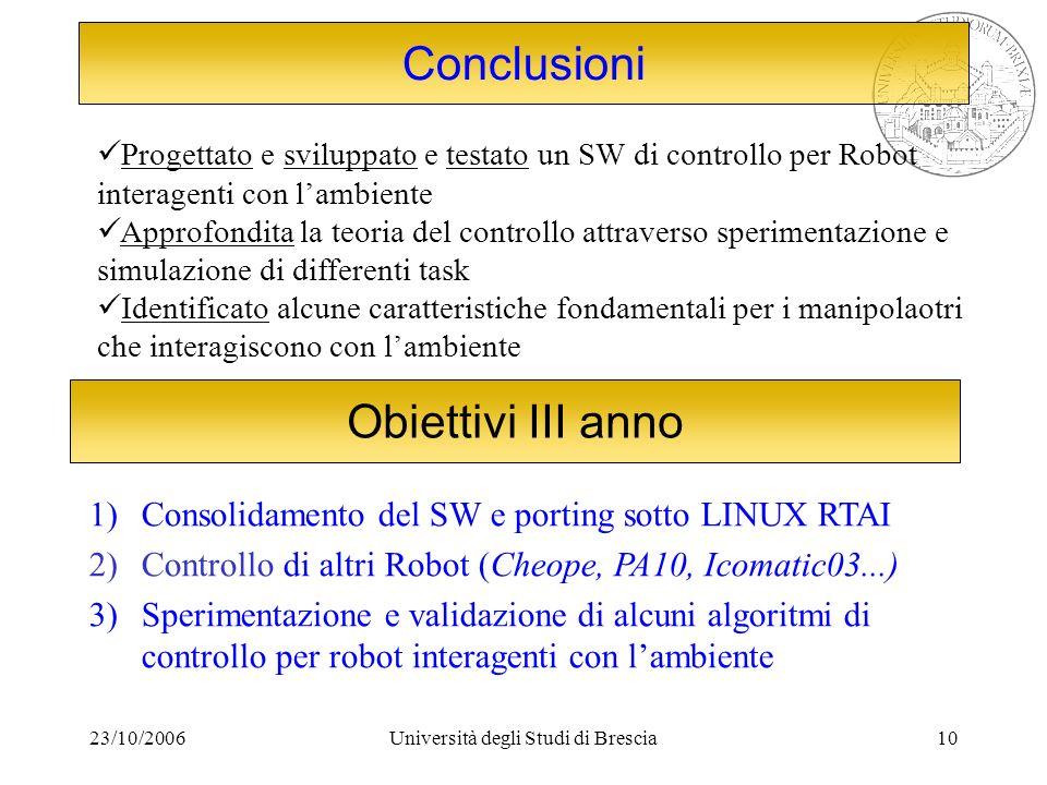 23/10/2006Università degli Studi di Brescia10 Progettato e sviluppato e testato un SW di controllo per Robot interagenti con lambiente Approfondita la