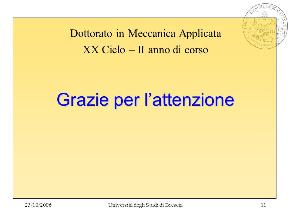 23/10/2006Università degli Studi di Brescia11 Grazie per lattenzione Dottorato in Meccanica Applicata XX Ciclo – II anno di corso