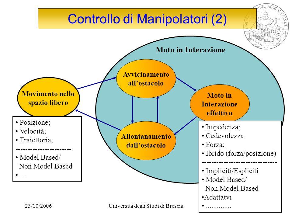23/10/2006Università degli Studi di Brescia4 Focus del progetto Task: Assemblaggio Contornatura Lavorazioni superficiali Calibrazione Robot guidance...