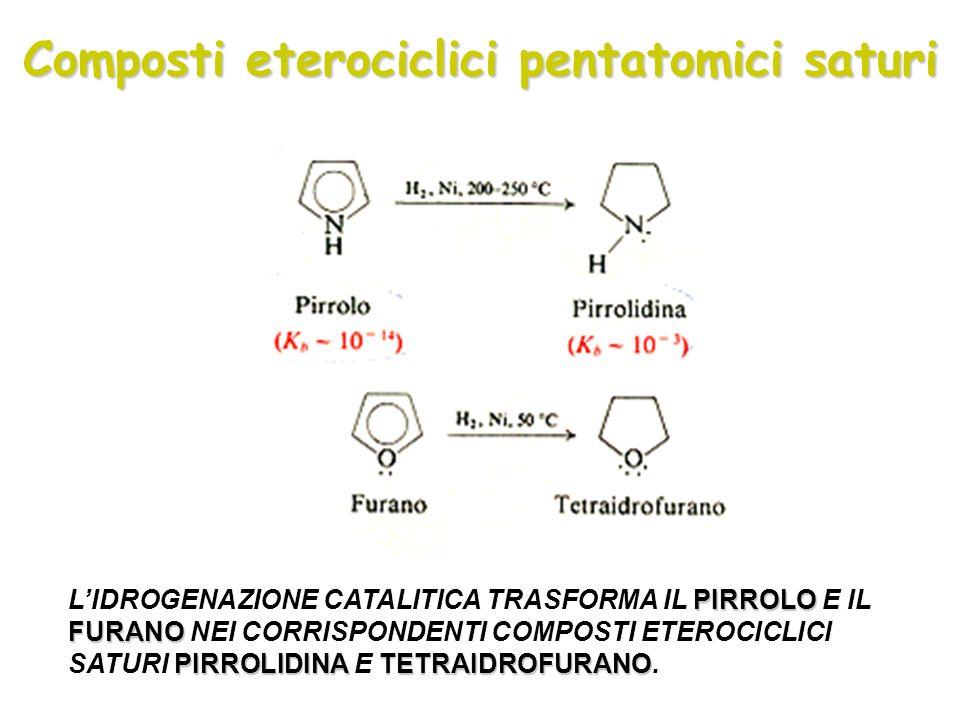 Composti eterociclici pentatomici saturi PIRROLO FURANO PIRROLIDINATETRAIDROFURANO LIDROGENAZIONE CATALITICA TRASFORMA IL PIRROLO E IL FURANO NEI CORR