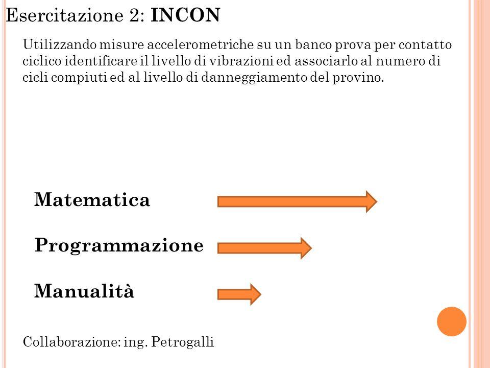 Esercitazione 2: INCON Utilizzando misure accelerometriche su un banco prova per contatto ciclico identificare il livello di vibrazioni ed associarlo al numero di cicli compiuti ed al livello di danneggiamento del provino.