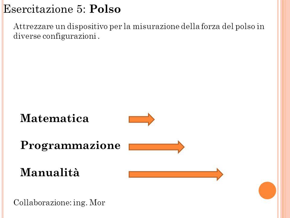 Esercitazione 5: Polso Attrezzare un dispositivo per la misurazione della forza del polso in diverse configurazioni. Matematica Programmazione Manuali