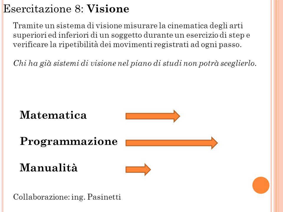 Esercitazione 8: Visione Tramite un sistema di visione misurare la cinematica degli arti superiori ed inferiori di un soggetto durante un esercizio di step e verificare la ripetibilità dei movimenti registrati ad ogni passo.