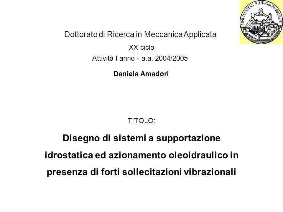 Dottorato di Ricerca in Meccanica Applicata XX ciclo Attività I anno - a.a.