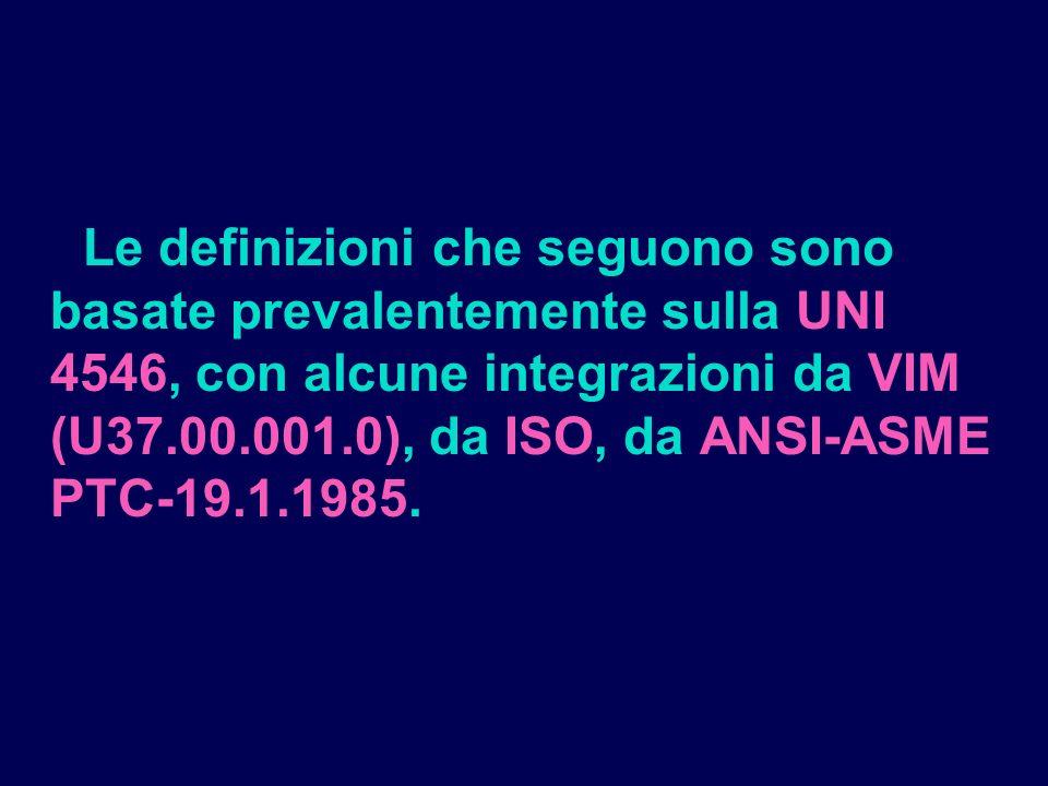 MISURA: informazione costituita da un numero, unincertezza, con un grado di confidenza ed ununità di misura, assegnati a rappresentare un parametro in un determinato stato del sistema: MISURA = N +i [u.m.] (p%)