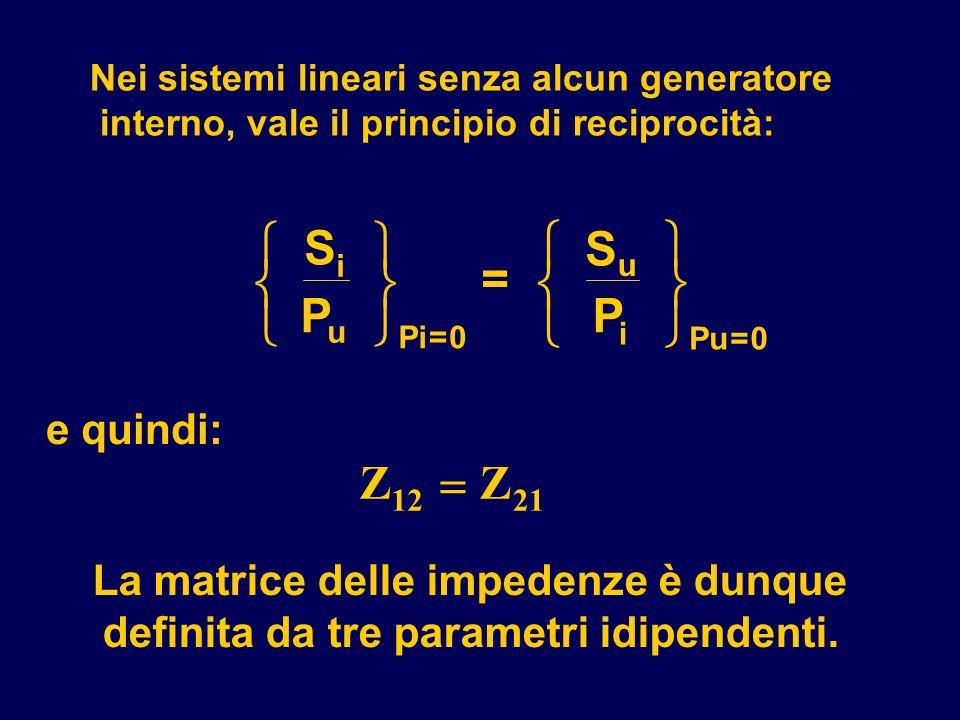 Nei sistemi lineari senza alcun generatore interno, vale il principio di reciprocità: La matrice delle impedenze è dunque definita da tre parametri id