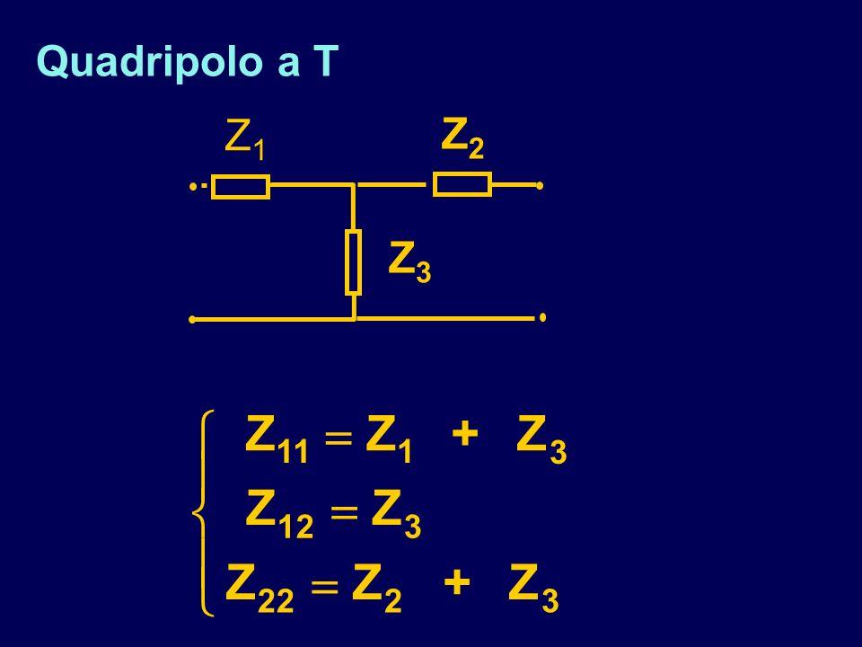 Quadripolo a T Z3Z3 Z1Z1 Z2Z2 ZZ + Z ZZ ZZ + Z 111 3 123 2223