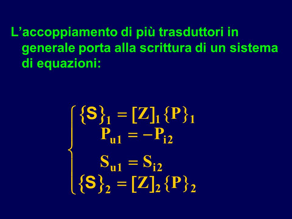 Laccoppiamento di più trasduttori in generale porta alla scrittura di un sistema di equazioni: S 1 11 12 12 2 2 2 S ZP PP SS ZP ui ui