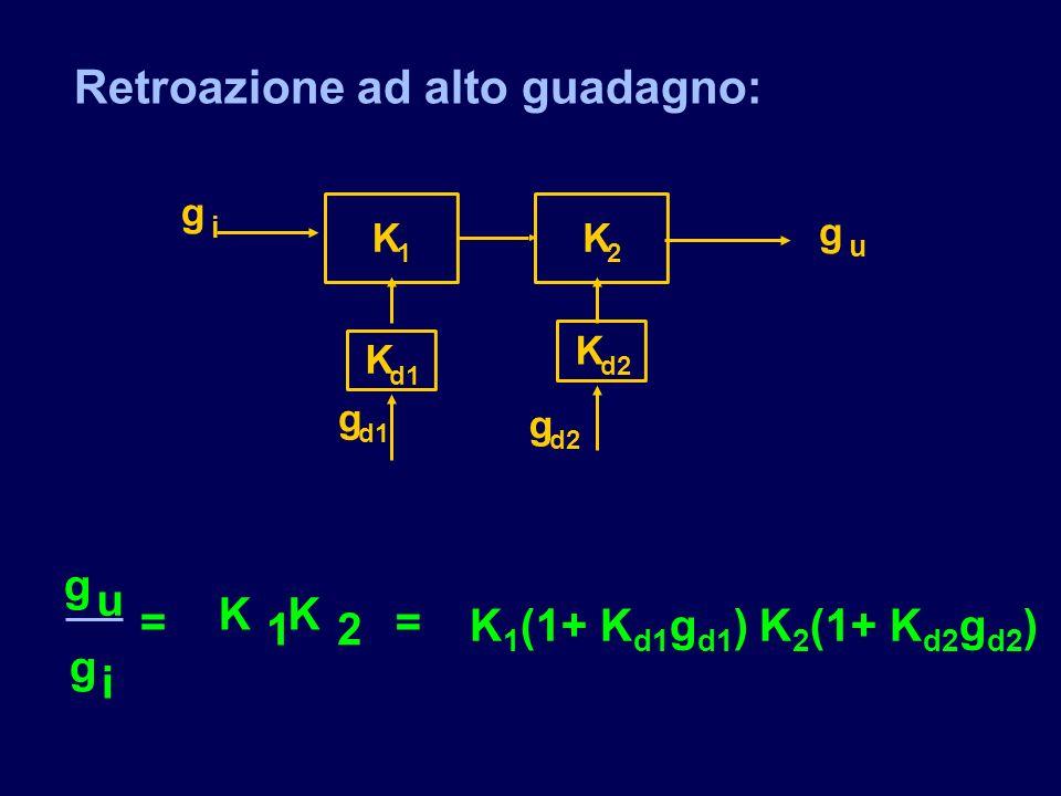 Retroazione ad alto guadagno: K 1 g i K 2 K d1 g g d2 K g u g g u i = KK 1 2 = K 1 (1+ K d1 g d1 ) K 2 (1+ K d2 g d2 )