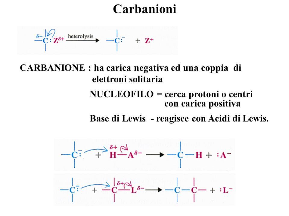 Carbocationi Leterolisi di un legame che coinvolge un atomo di carbonio può portare alla formazione di due ioni diversi: CARBOCATIONE : manca di una c