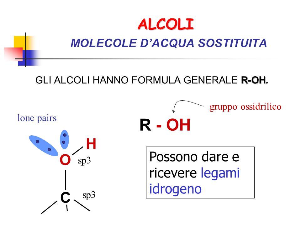 ALCOLI ALCOLI MOLECOLE DACQUA SOSTITUITA R-OH GLI ALCOLI HANNO FORMULA GENERALE R-OH. R - OH gruppo ossidrilico O H C sp3 lone pairs Possono dare e ri