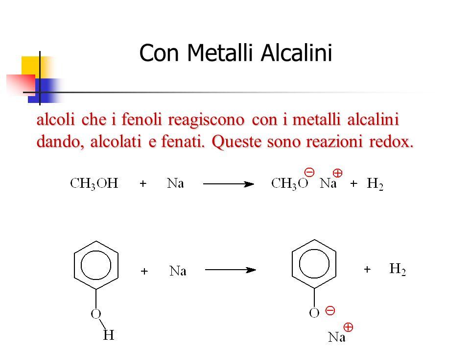 2 2 2 2 2 2 alcoli che i fenoli reagiscono con i metalli alcalini dando, alcolati e fenati. Queste sono reazioni redox. Con Metalli Alcalini