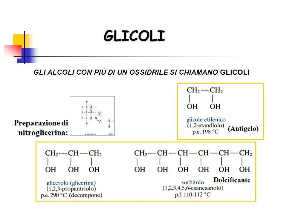 GLICOLI GLICOLI GLI ALCOLI CON PIÙ DI UN OSSIDRILE SI CHIAMANO GLICOLI Preparazione di nitroglicerina: (Antigelo) Dolcificante