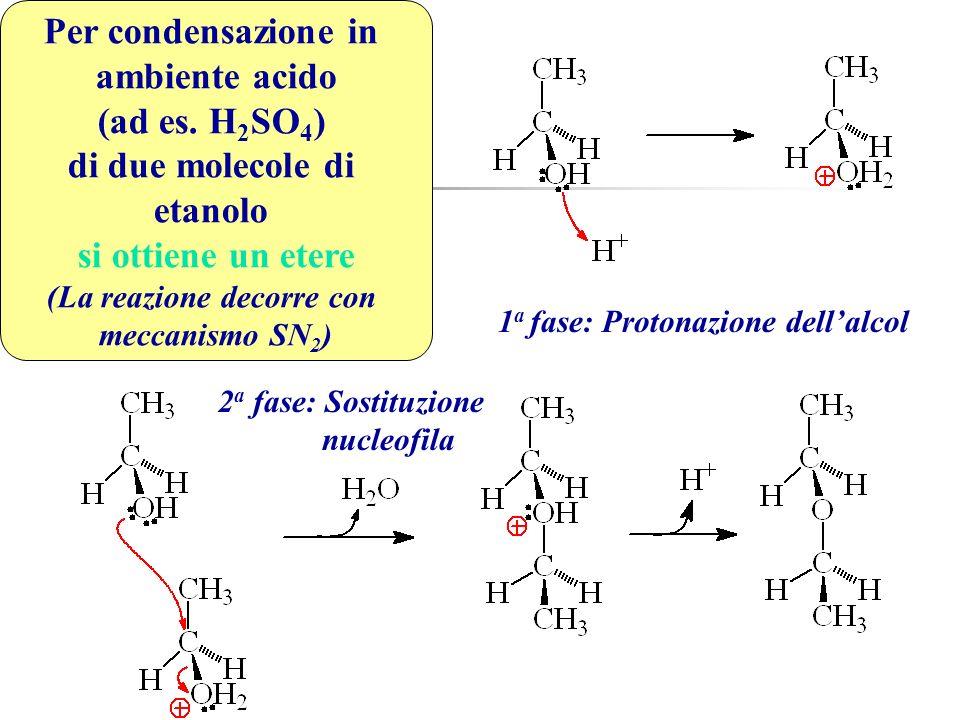 Per condensazione in ambiente acido (ad es. H 2 SO 4 ) di due molecole di etanolo si ottiene un etere (La reazione decorre con meccanismo SN 2 ) 1 a f