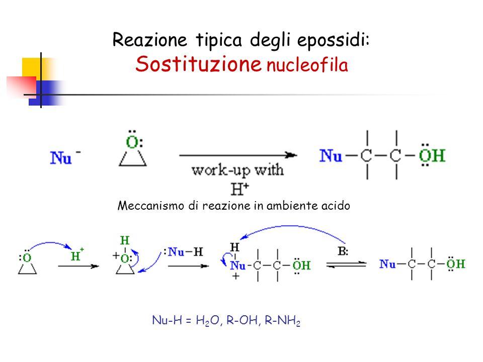 Reazione tipica degli epossidi: Sostituzione nucleofila Meccanismo di reazione in ambiente acido Nu-H = H 2 O, R-OH, R-NH 2