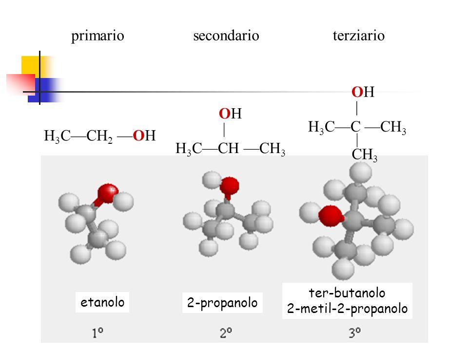 etanolo 2-propanolo ter-butanolo 2-metil-2-propanolo H 3 CCH 2 OH H 3 CCH CH 3 OH | H 3 CC CH 3 OH | CH 3 primariosecondarioterziario