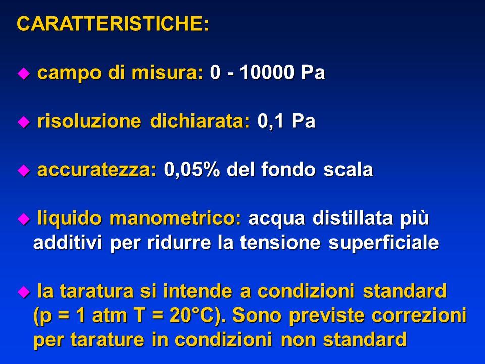 CARATTERISTICHE: u campo di misura: 0 - 10000 Pa u risoluzione dichiarata: 0,1 Pa u accuratezza: 0,05% del fondo scala u liquido manometrico: acqua di