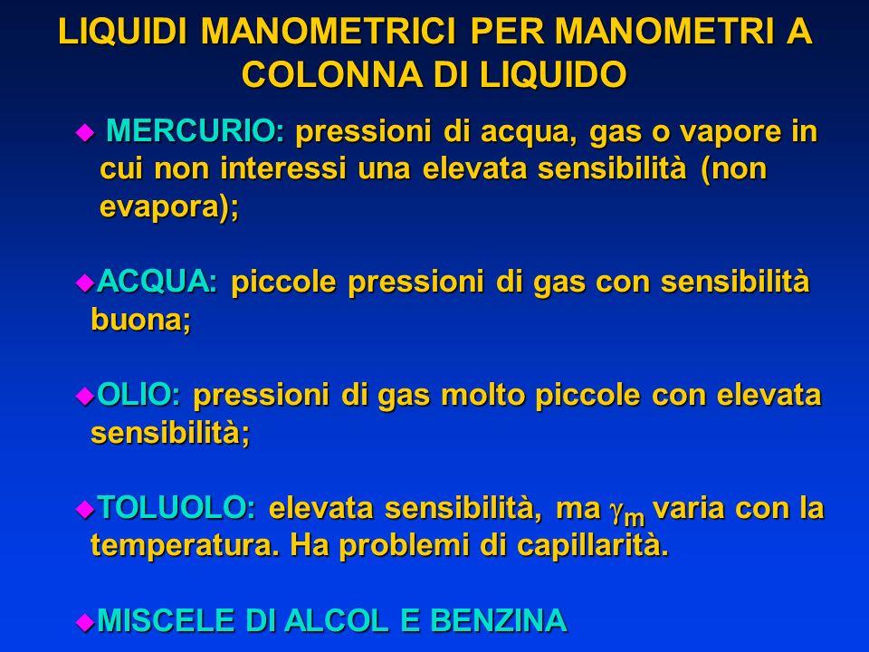 LIQUIDI MANOMETRICI PER MANOMETRI A COLONNA DI LIQUIDO u MERCURIO: pressioni di acqua, gas o vapore in cui non interessi una elevata sensibilità (non