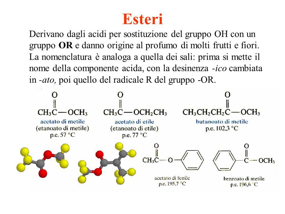 Esteri Derivano dagli acidi per sostituzione del gruppo OH con un gruppo OR e danno origine al profumo di molti frutti e fiori. La nomenclatura è anal