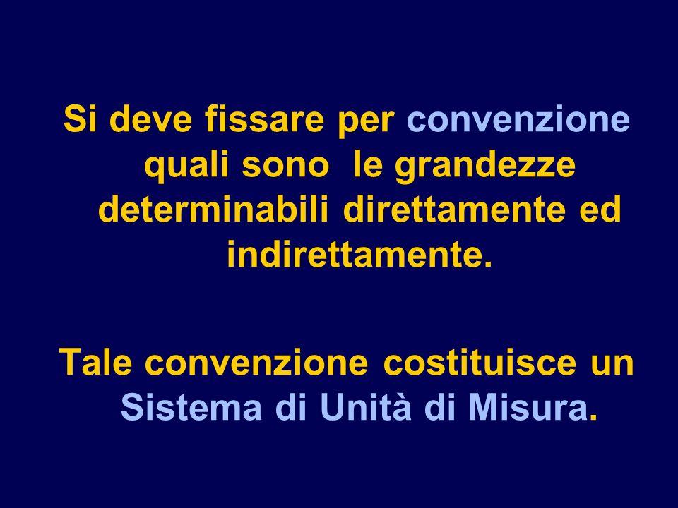 Si deve fissare per convenzione quali sono le grandezze determinabili direttamente ed indirettamente.