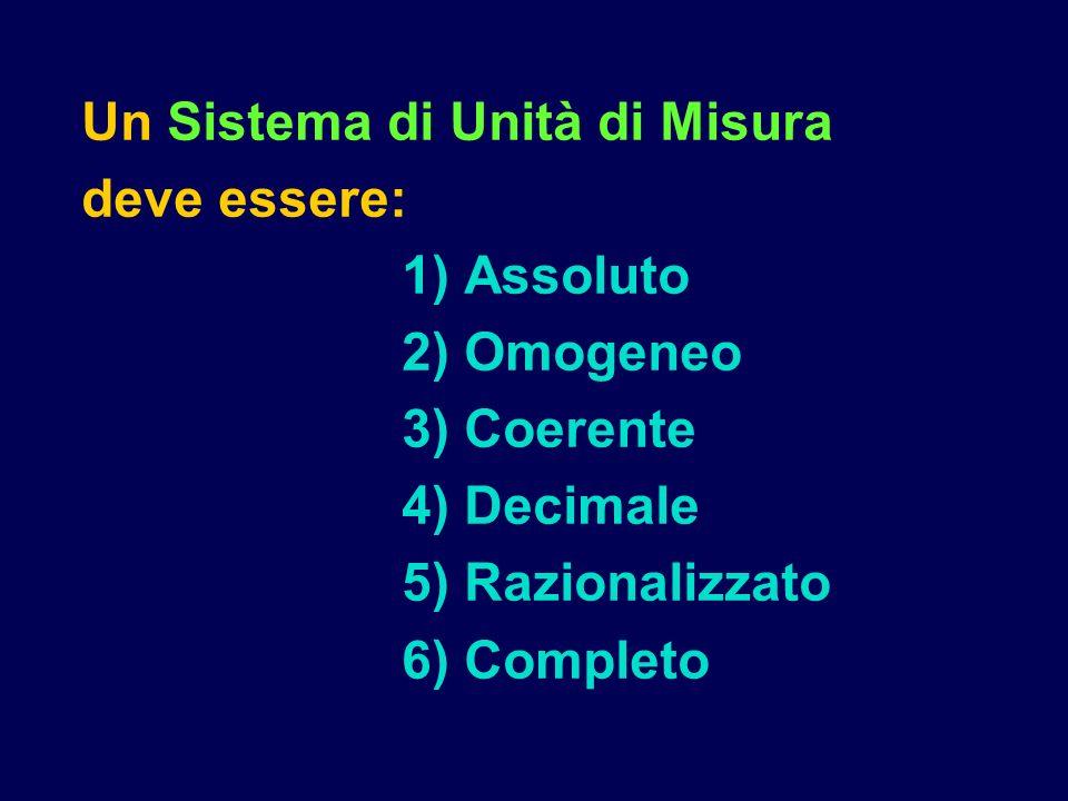Un Sistema di Unità di Misura deve essere: 1) Assoluto 2) Omogeneo 3) Coerente 4) Decimale 5) Razionalizzato 6) Completo