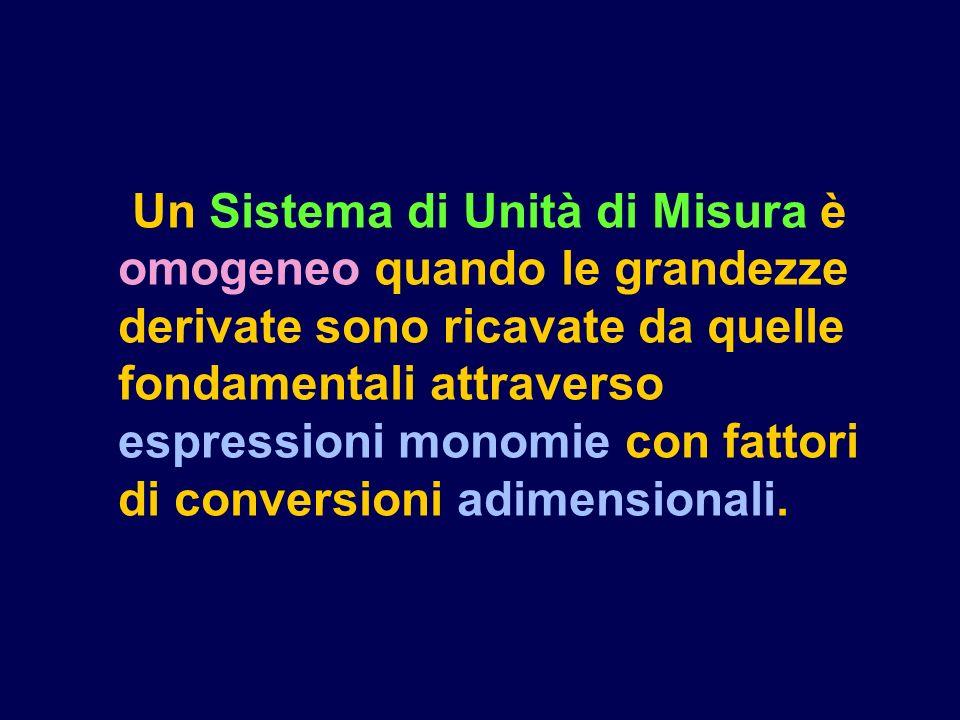 Un Sistema di Unità di Misura è omogeneo quando le grandezze derivate sono ricavate da quelle fondamentali attraverso espressioni monomie con fattori di conversioni adimensionali.