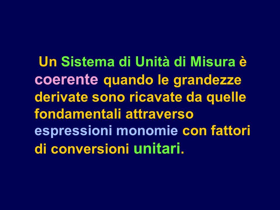 Un Sistema di Unità di Misura è coerente quando le grandezze derivate sono ricavate da quelle fondamentali attraverso espressioni monomie con fattori di conversioni unitari.