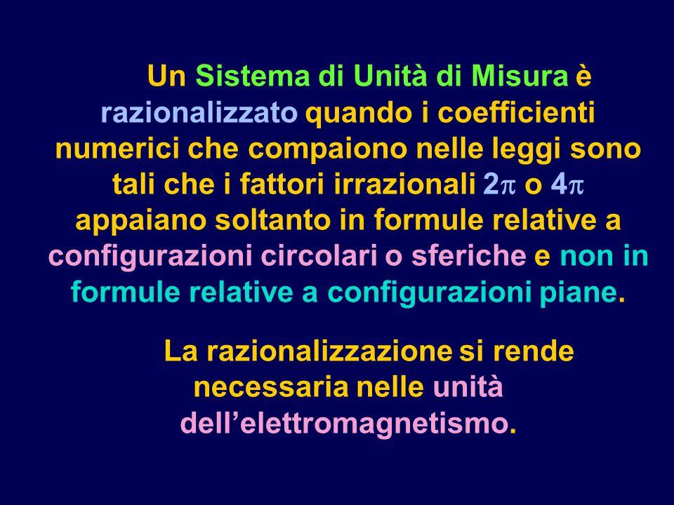 Un Sistema di Unità di Misura è razionalizzato quando i coefficienti numerici che compaiono nelle leggi sono tali che i fattori irrazionali 2 o 4 appaiano soltanto in formule relative a configurazioni circolari o sferiche e non in formule relative a configurazioni piane.
