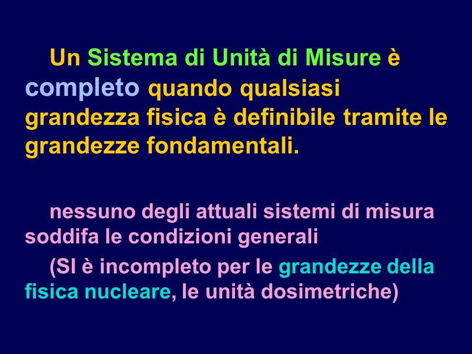 Un Sistema di Unità di Misure è completo quando qualsiasi grandezza fisica è definibile tramite le grandezze fondamentali.