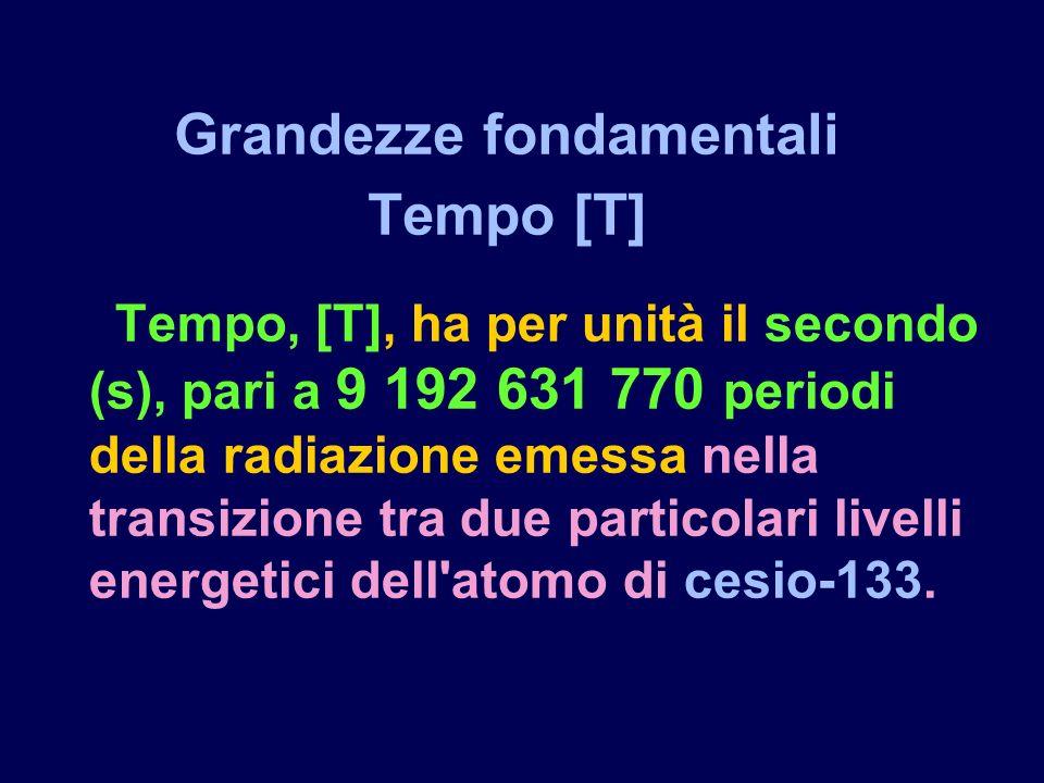 Tempo, [T], ha per unità il secondo (s), pari a 9 192 631 770 periodi della radiazione emessa nella transizione tra due particolari livelli energetici dell atomo di cesio-133.