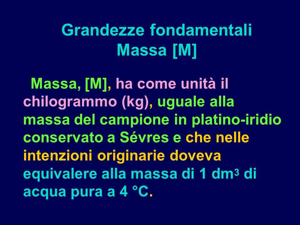 Massa, [M], ha come unità il chilogrammo (kg), uguale alla massa del campione in platino-iridio conservato a Sévres e che nelle intenzioni originarie doveva equivalere alla massa di 1 dm 3 di acqua pura a 4 °C.