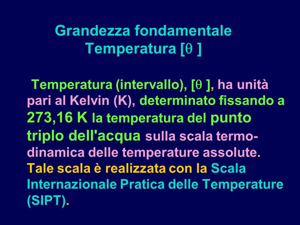 273,16 K Temperatura (intervallo), [ ], ha unità pari al Kelvin (K), determinato fissando a 273,16 K la temperatura del punto triplo dell acqua sulla scala termo- dinamica delle temperature assolute.