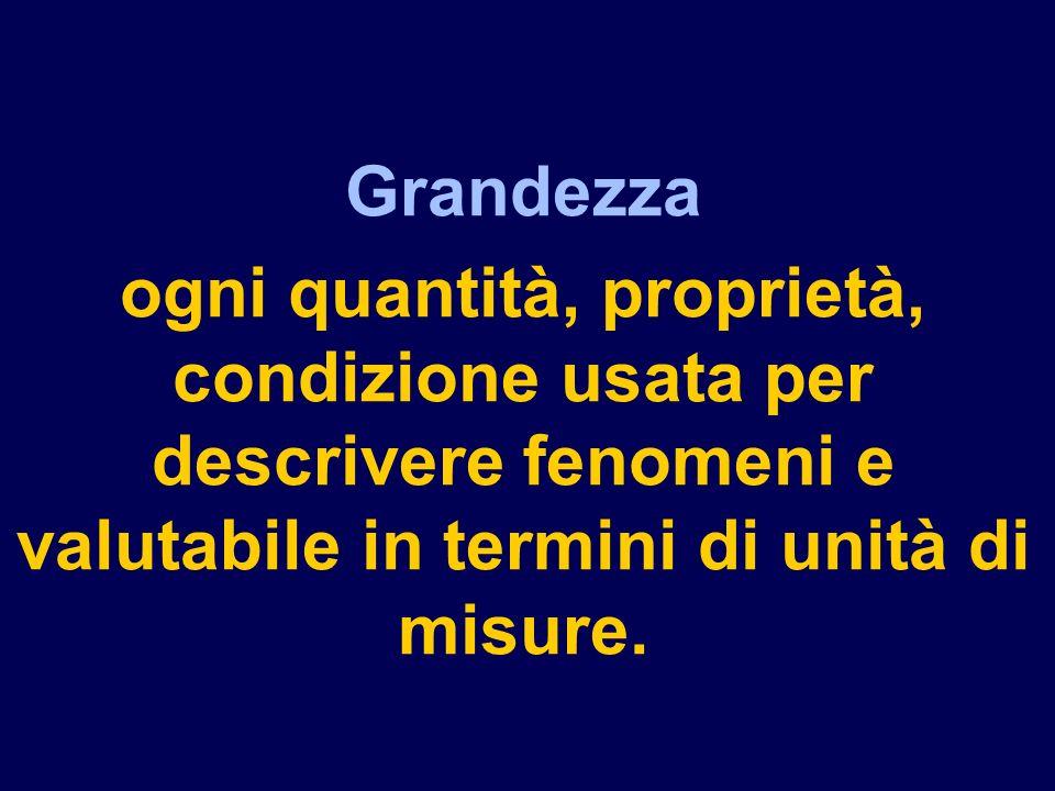 Grandezza ogni quantità, proprietà, condizione usata per descrivere fenomeni e valutabile in termini di unità di misure.