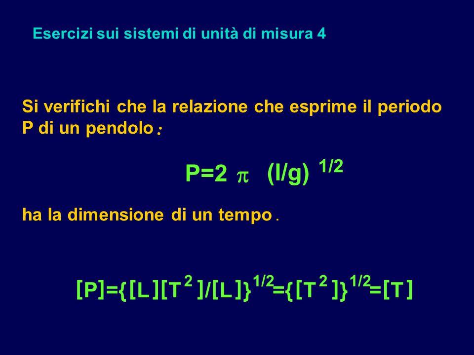 Esercizi sui sistemi di unità di misura 4 Si verifichi che la relazione che esprime il periodo P di un pendolo : P=2 (l/g) 1/2 ha la dimensione di un tempo.