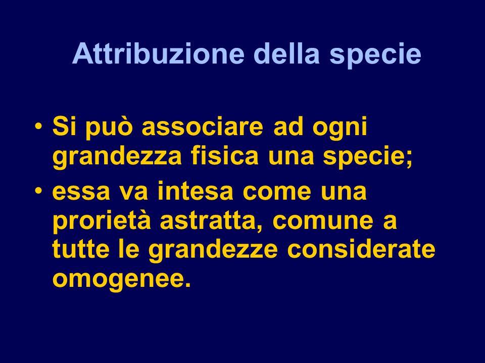 Attribuzione della specie Si può associare ad ogni grandezza fisica una specie; essa va intesa come una prorietà astratta, comune a tutte le grandezze considerate omogenee.