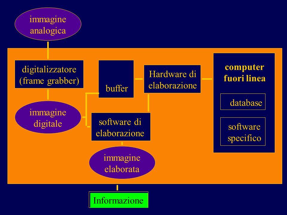immagine analogica Informazione digitalizzatore (frame grabber) immagine digitale immagine elaborata software di elaborazione buffer Hardware di elaborazione computer fuori linea database software specifico
