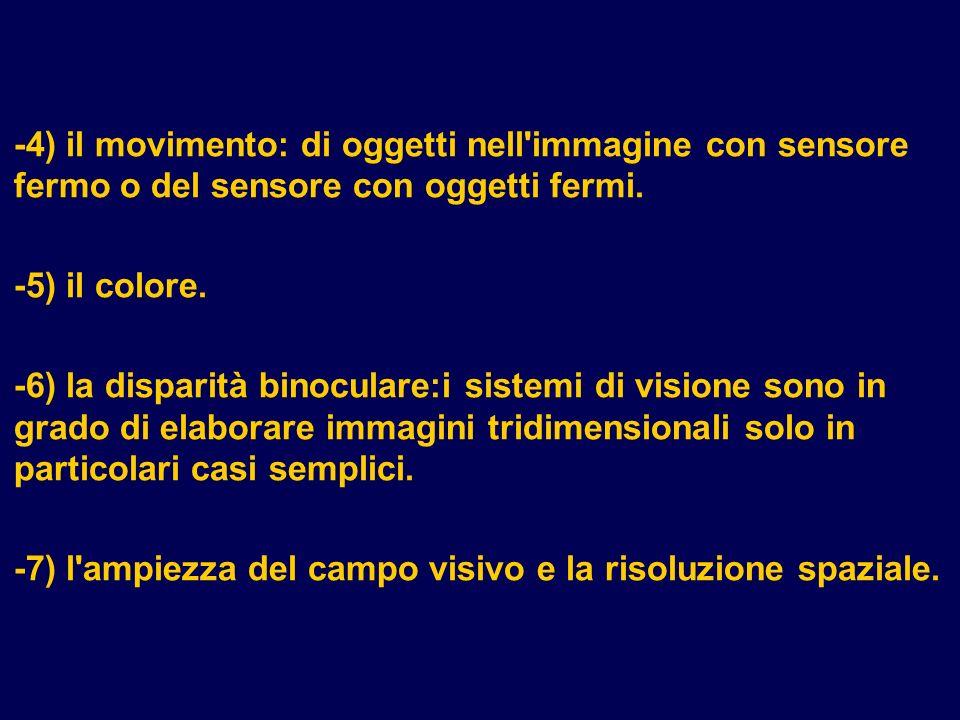 -4) il movimento: di oggetti nell'immagine con sensore fermo o del sensore con oggetti fermi. -5) il colore. -6) la disparità binoculare:i sistemi di