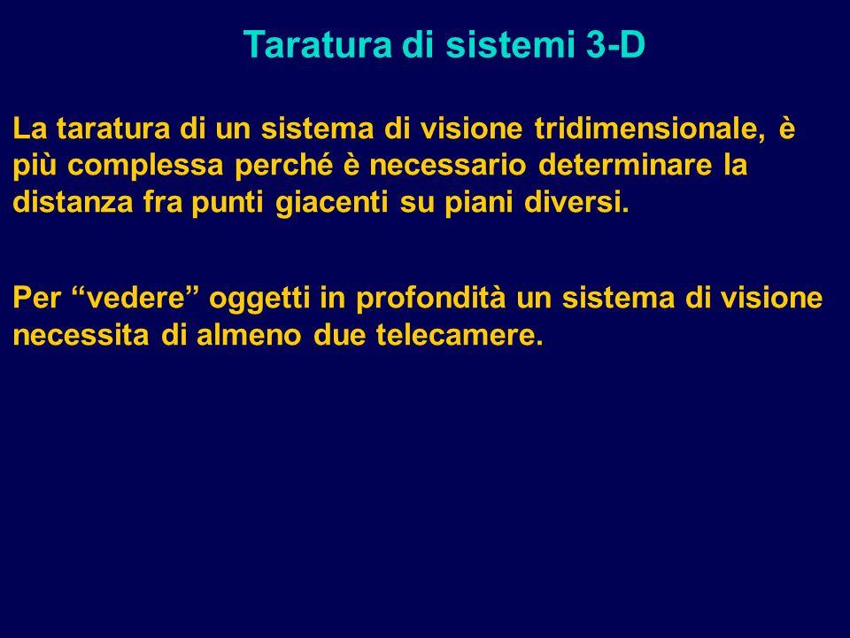 La taratura di un sistema di visione tridimensionale, è più complessa perché è necessario determinare la distanza fra punti giacenti su piani diversi.