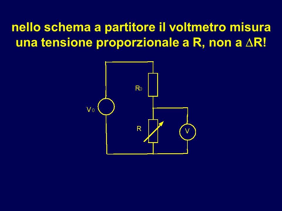nello schema a partitore il voltmetro misura una tensione proporzionale a R, non a R!