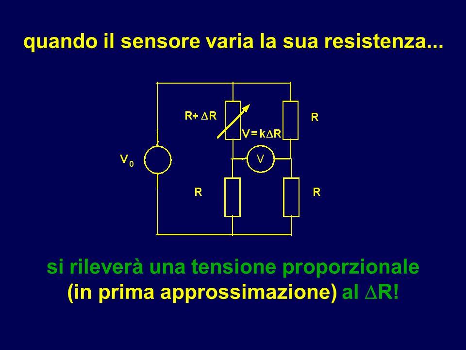 quando il sensore varia la sua resistenza... si rileverà una tensione proporzionale (in prima approssimazione) al R!
