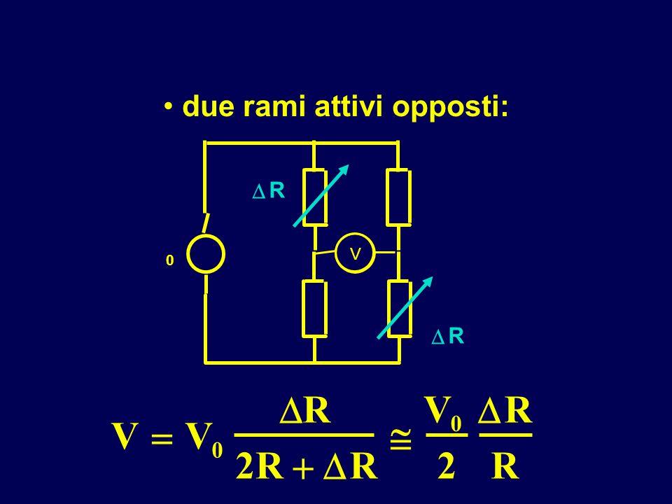 due rami attivi opposti: V V 0 R 2R R V 0 2 R R V 0 R R